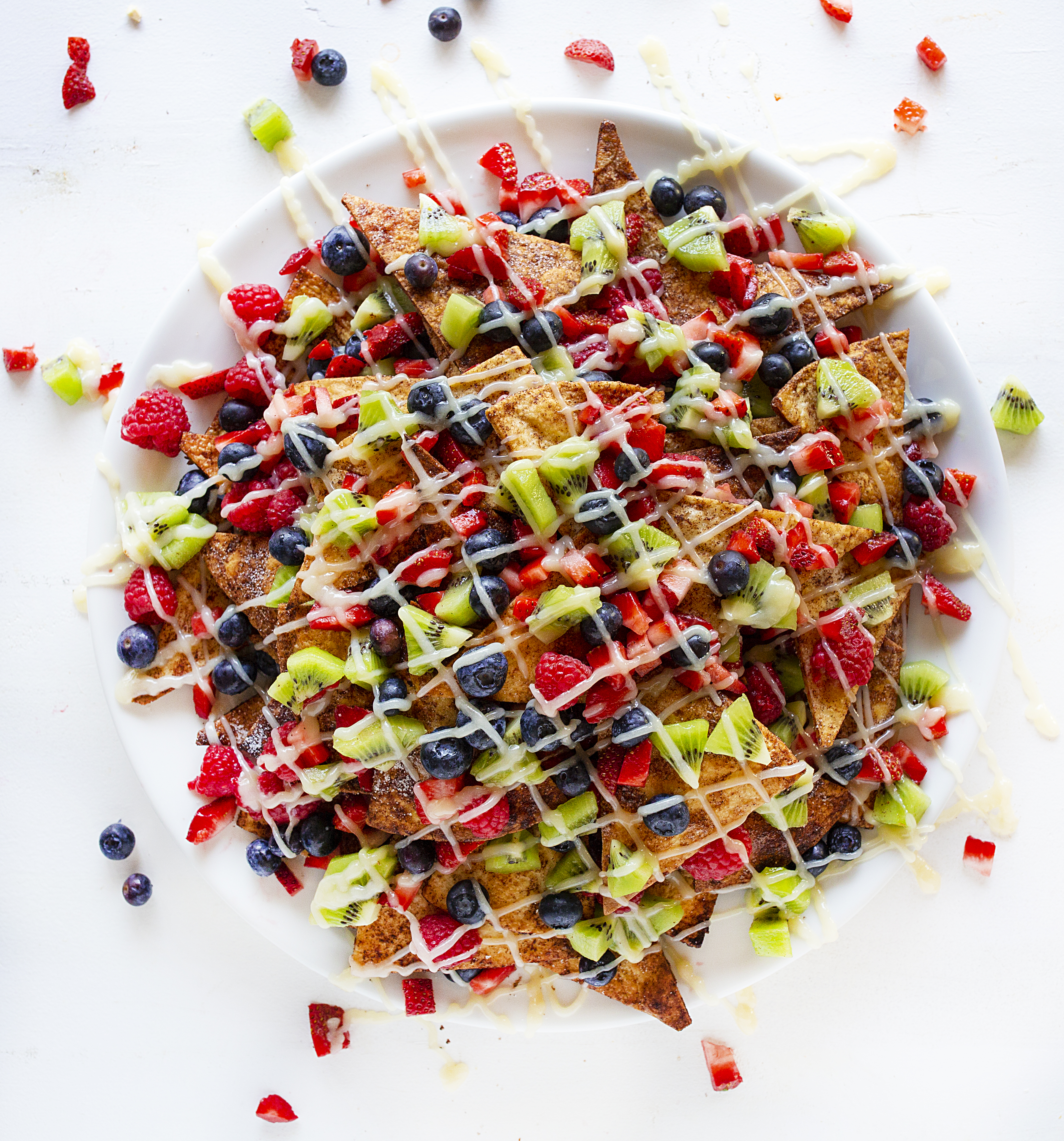 Fruit Nachos with Cream Cheese Glaze - Dessert Nachos