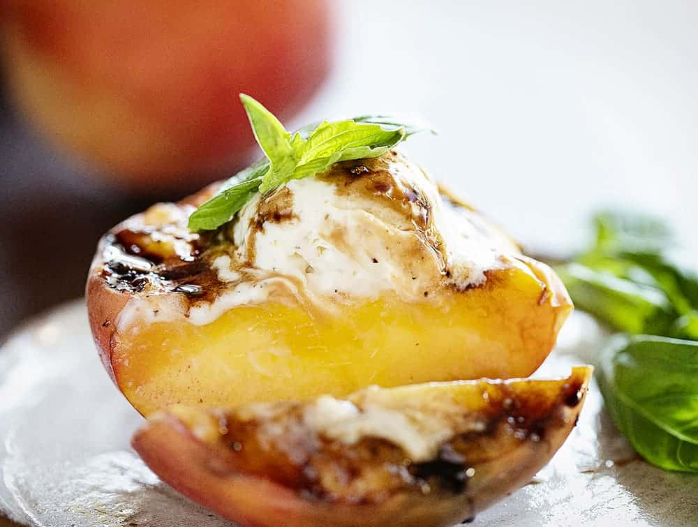 Slice of Grilled Peach with Mascarpone