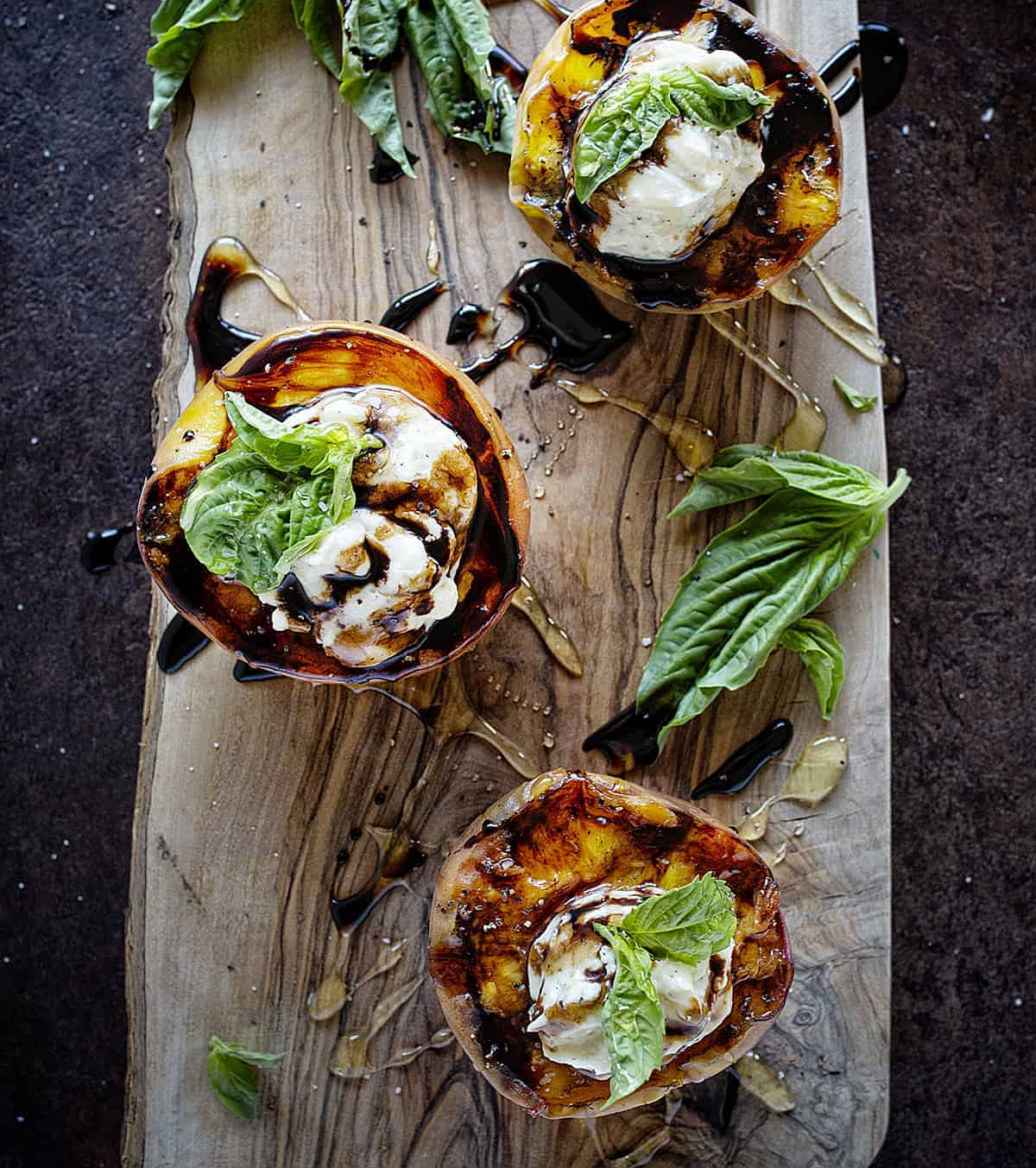 Ready to serve Grilled Peaches with Mascarpone and Balsamic Reduction