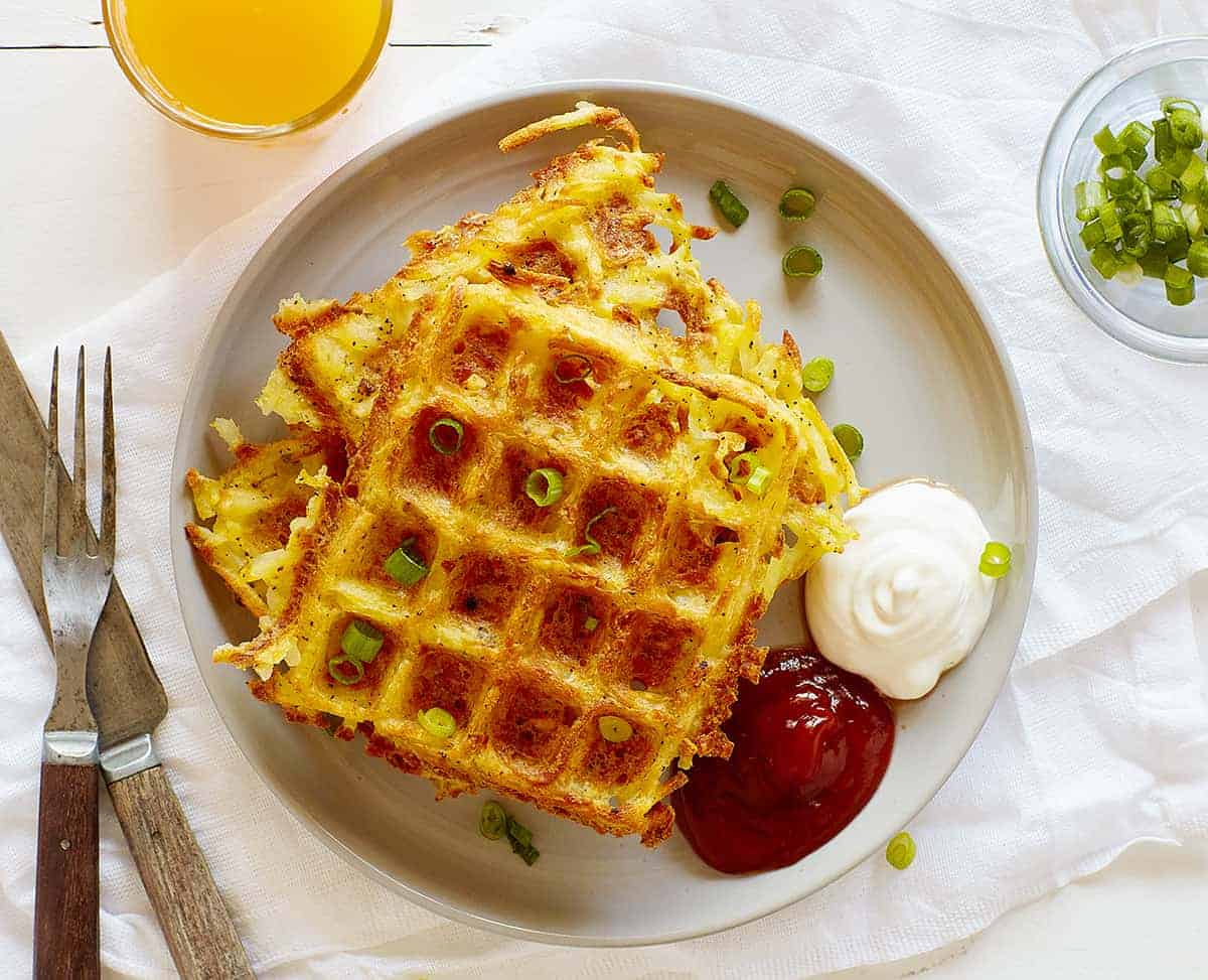 Plate of Hash Brown Waffles