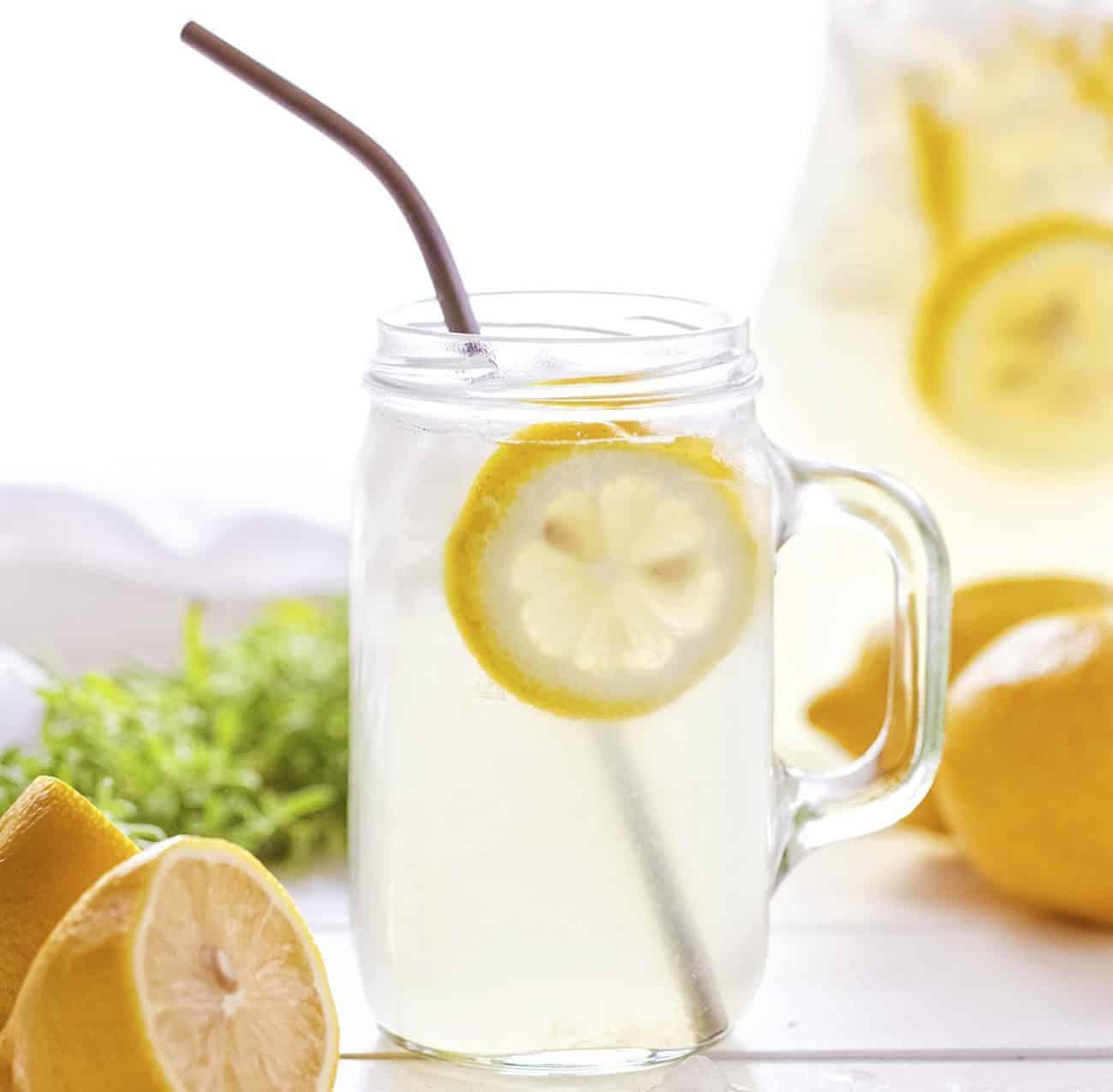 Homemade Lemonade in a Mug with Metal Straw