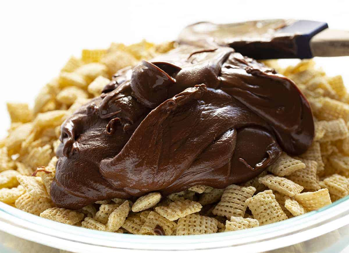 Chocolate Peanut Butter Mixture for Puppy Chow Bars