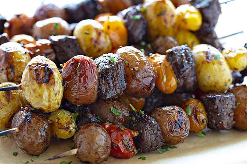 Stacked Garlic and Rosemary Steak Kebabs