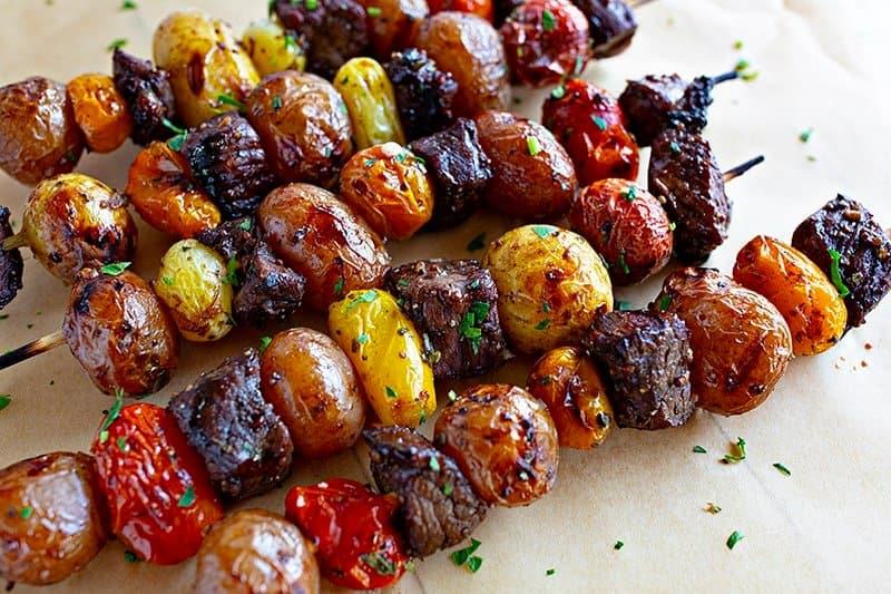 Garlic Rosemary Steak Kebabs