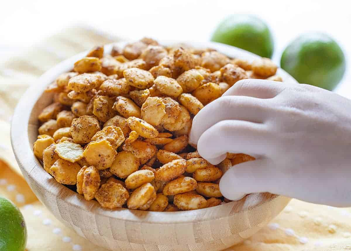 Grabbing a handful of Taco Oyster Crackers