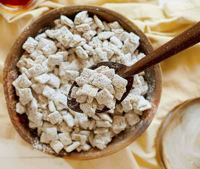A spoonful of Snickerdoodle Puppy Chow