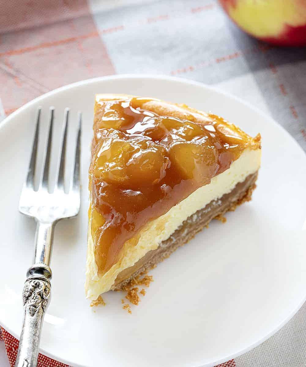 One Slice of Caramel Apple Cheesecake