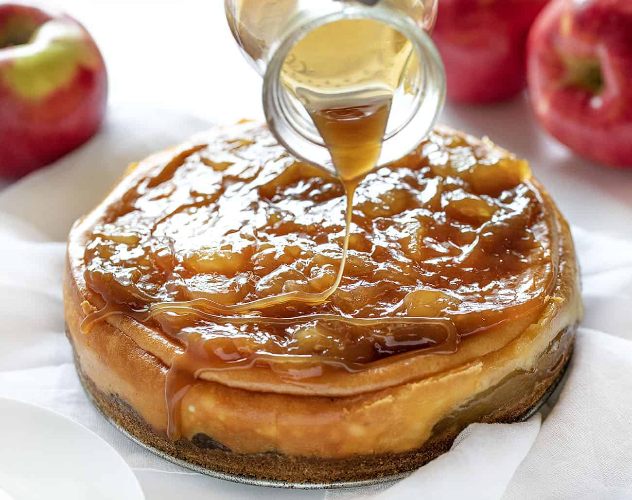 Drizzling Caramel Over a Caramel Apple Cheesecake