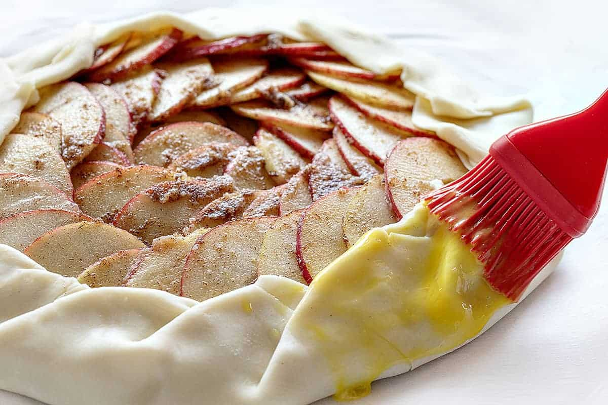 Egg wash on an uncooked Apple Galette