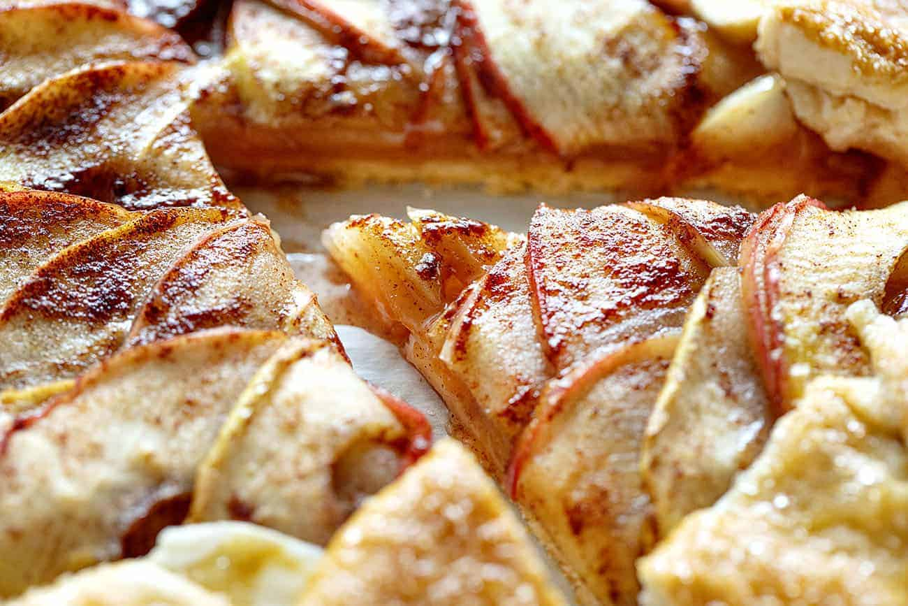 Very Close Up of the Layers of Apples in Apple Galette