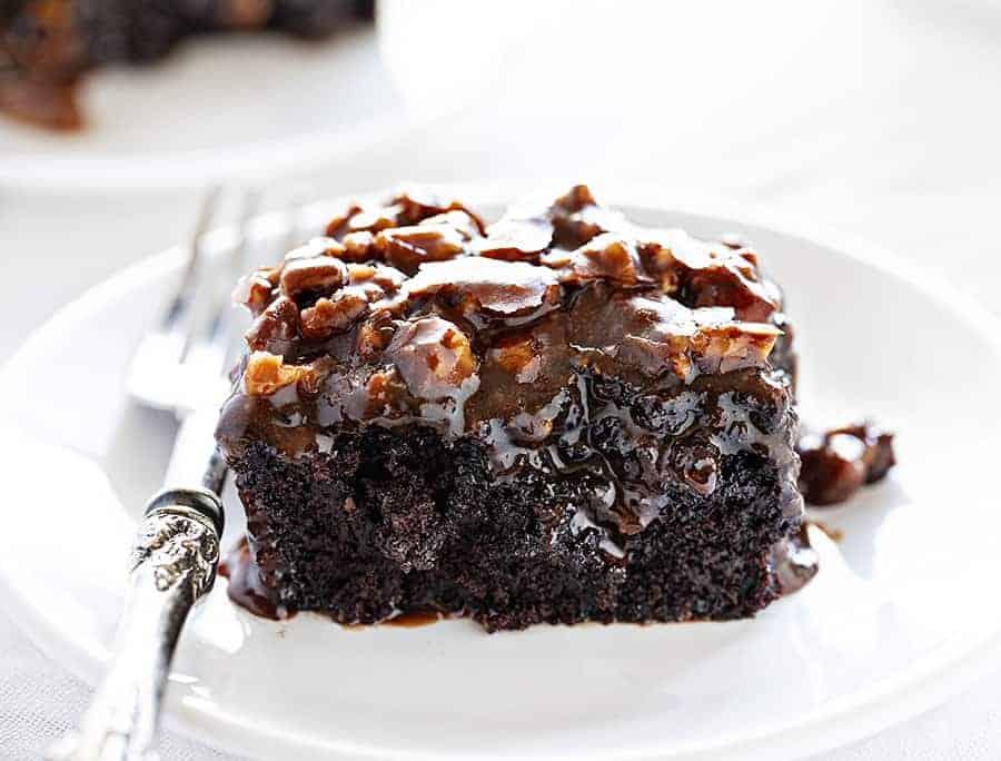 Dark Chocolate Cake with Buttermilk Pecan Frosting