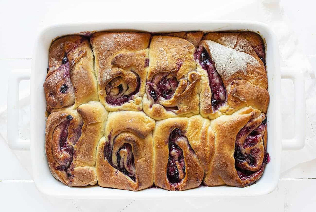 Unfrosted Blueberry Lemon Sweet Rolls