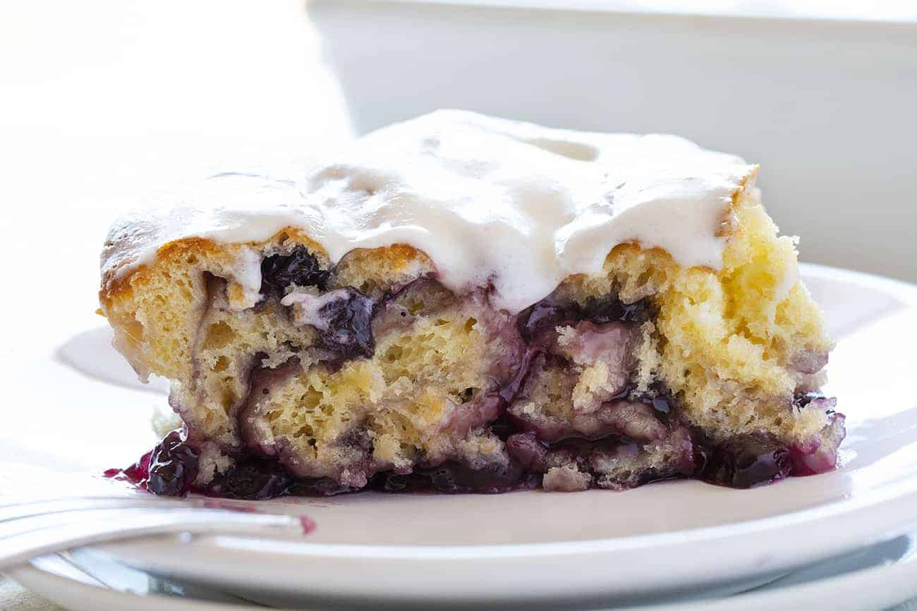 Piece of Blueberry Lemon Sweet Rolls