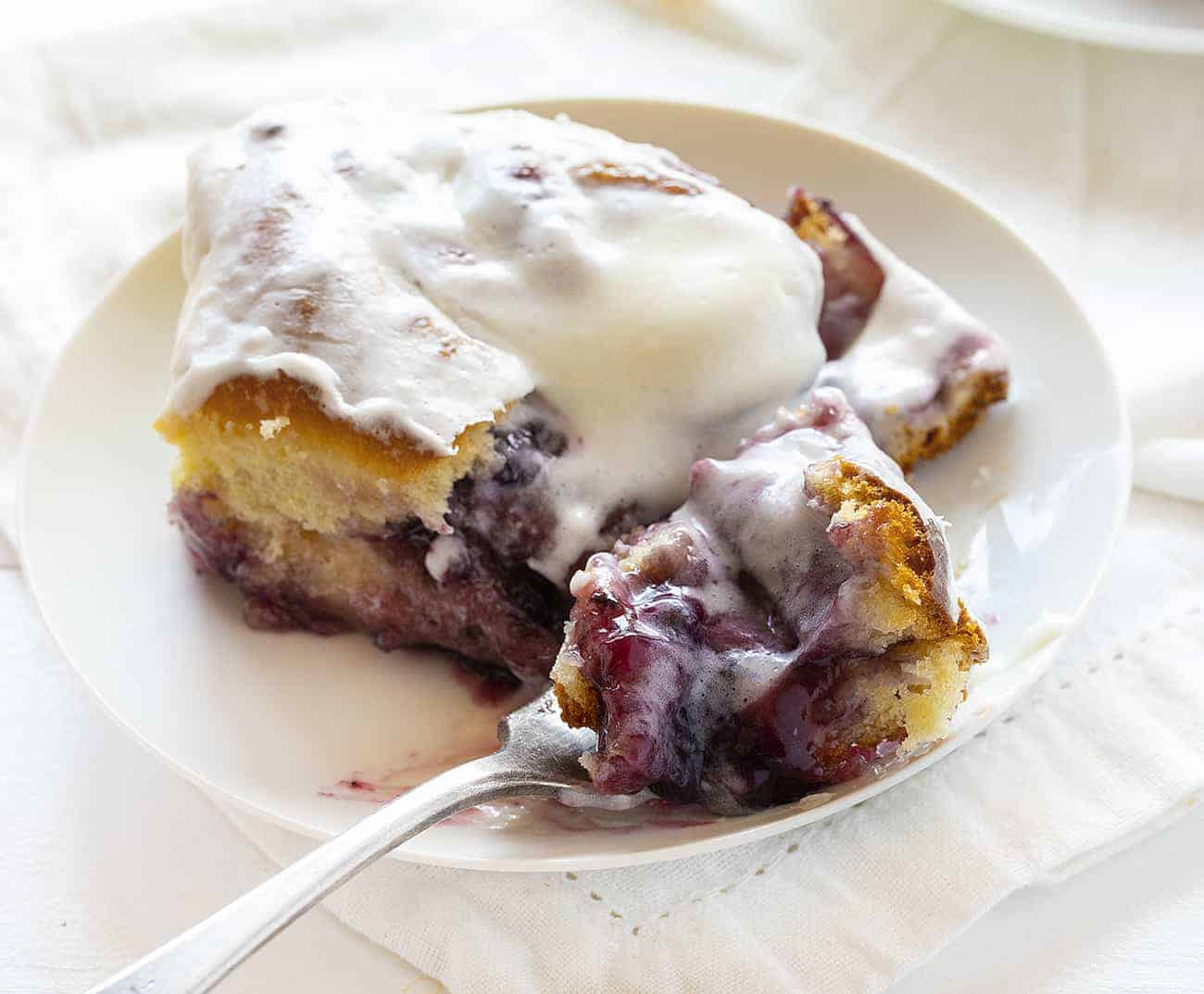 Fork Bite of Blueberry Lemon Sweet Rolls
