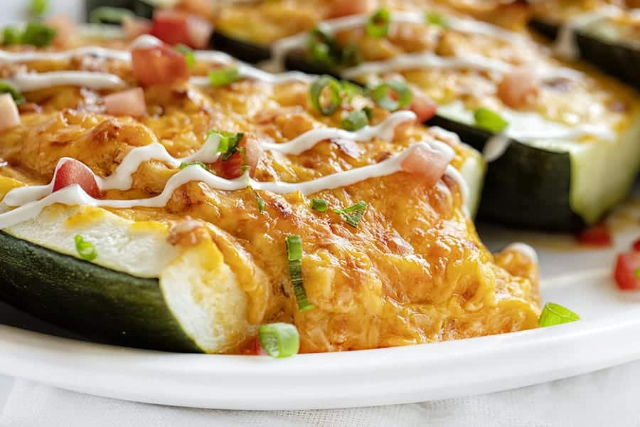 Close up of the filling in a Buffalo Chicken Zucchini Boat