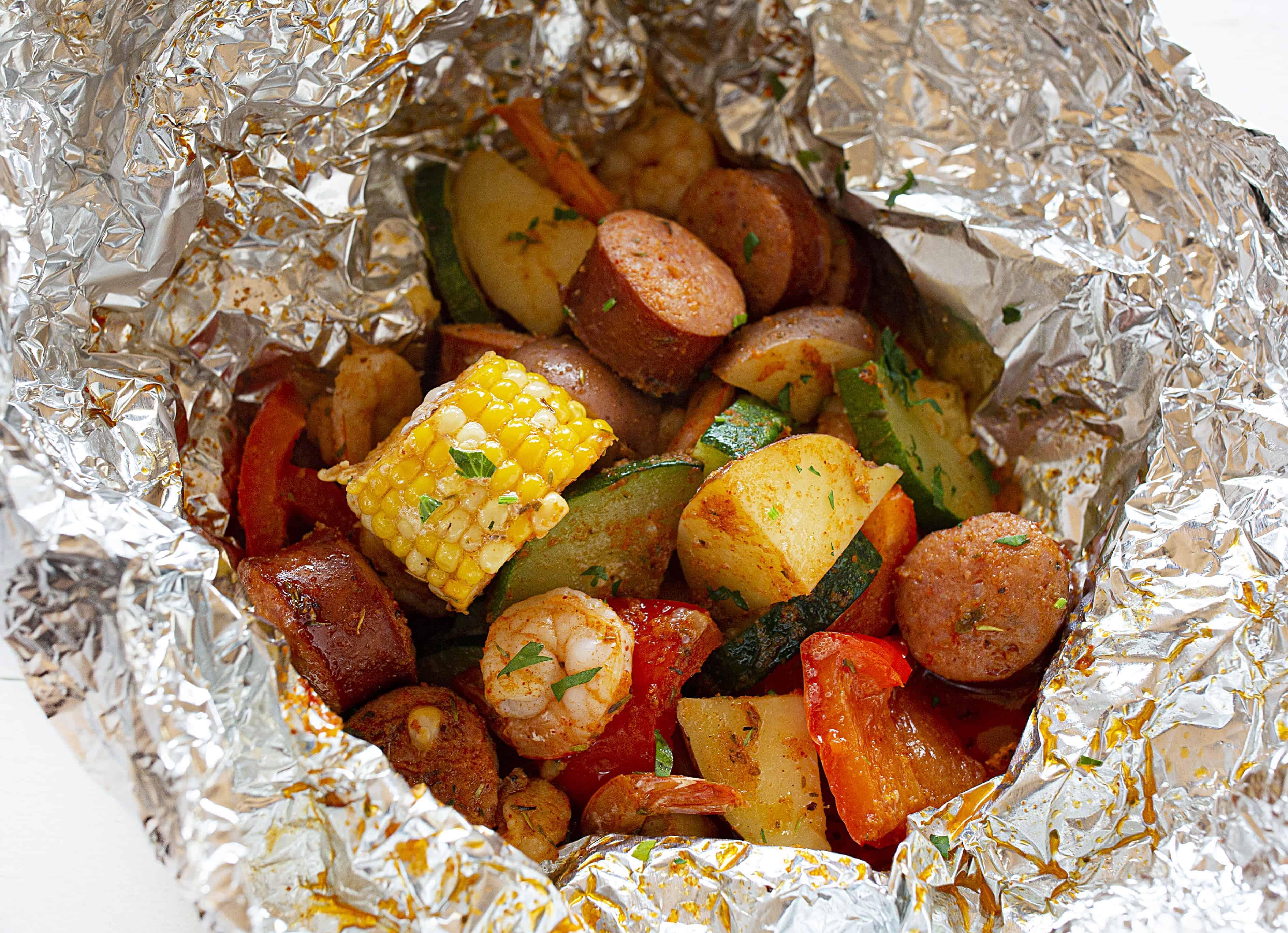 Cajun Shrimp and Sausage Foil Pack