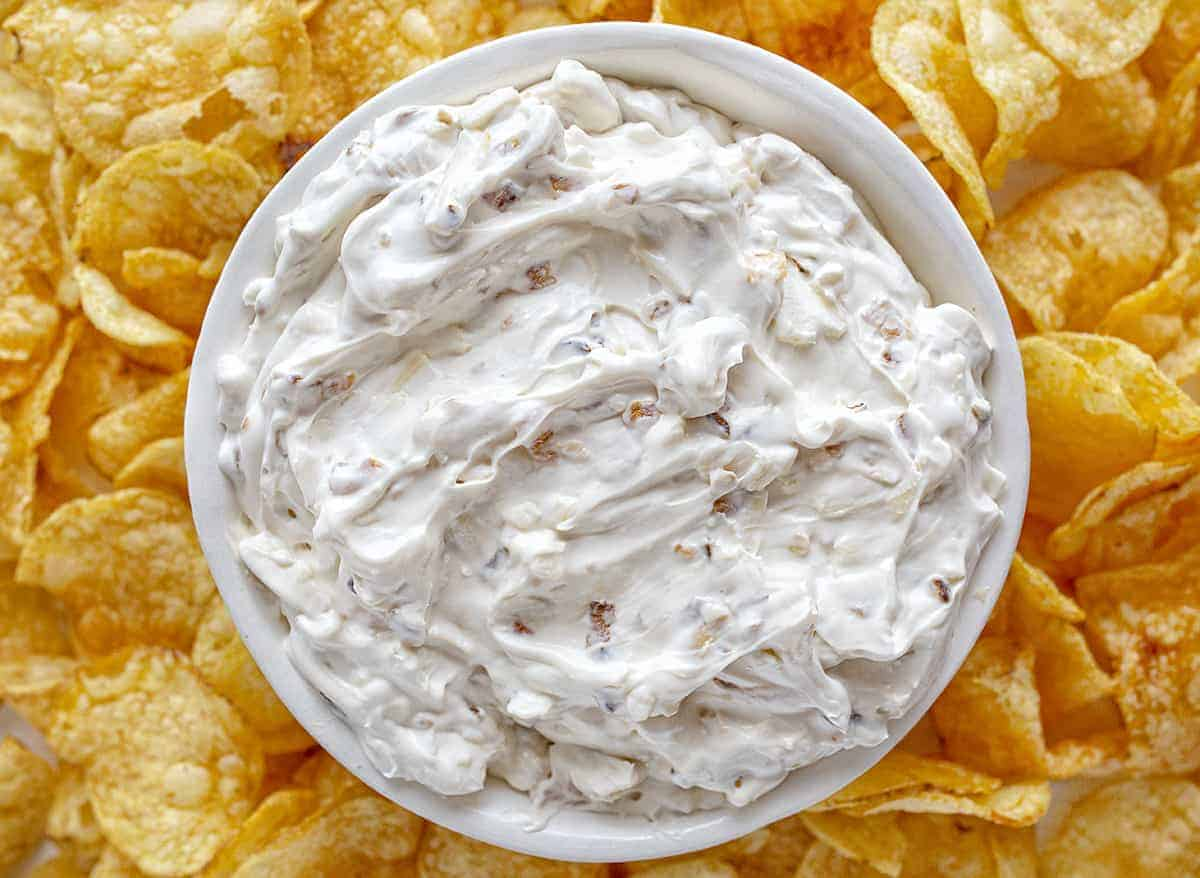 Overhead View of a Bowl of Homemade French Onion Dip