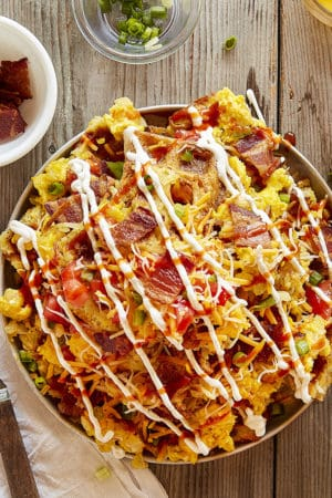 Loaded Hash Brown Breakfast Nachos