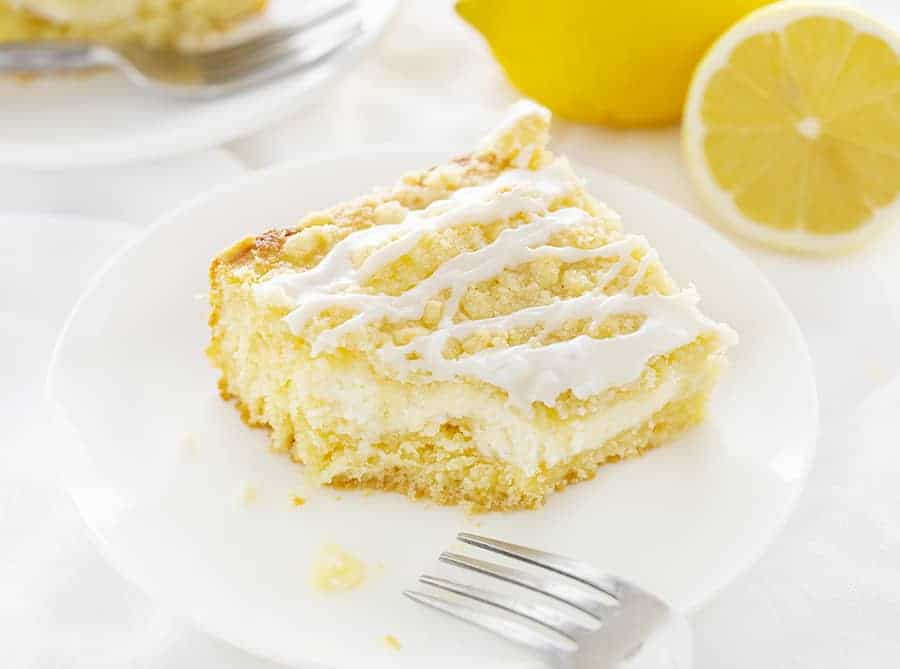 Piece of Lemon Cream Cheese Coffee Cake with Bite Taken