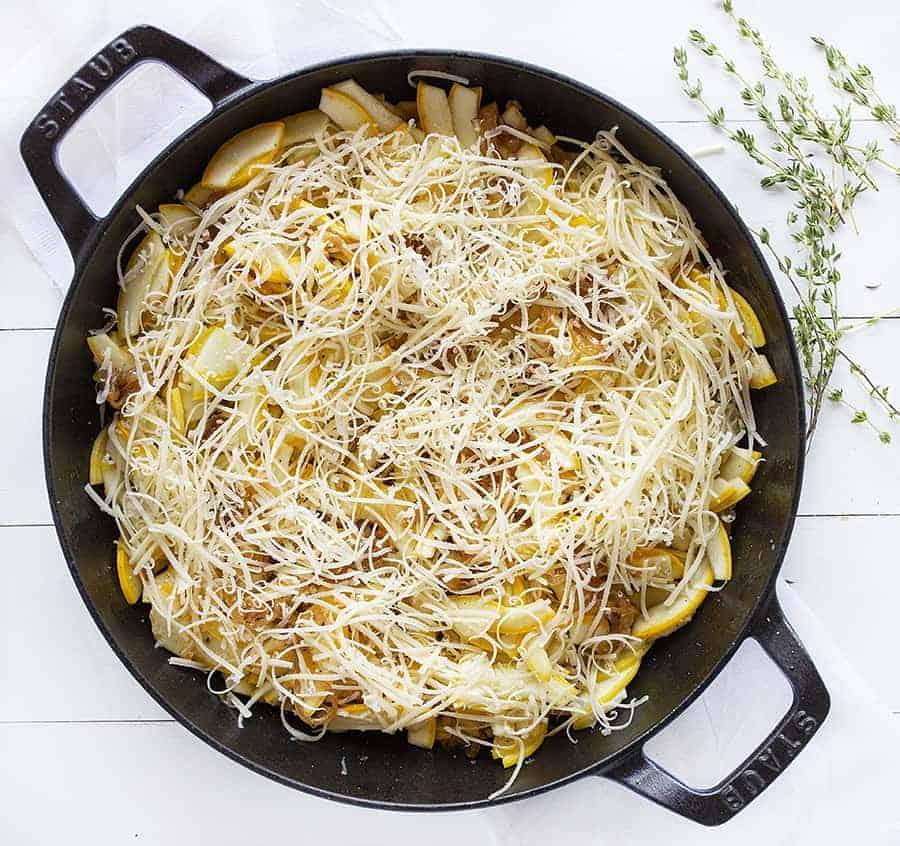 French Onion Zucchini Bake with Gruyere Cheese