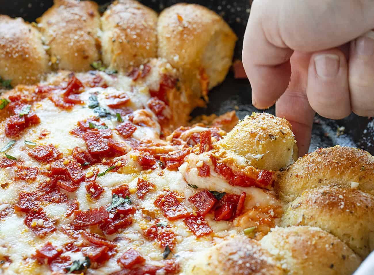 Piece of Skillet Pizza Dip