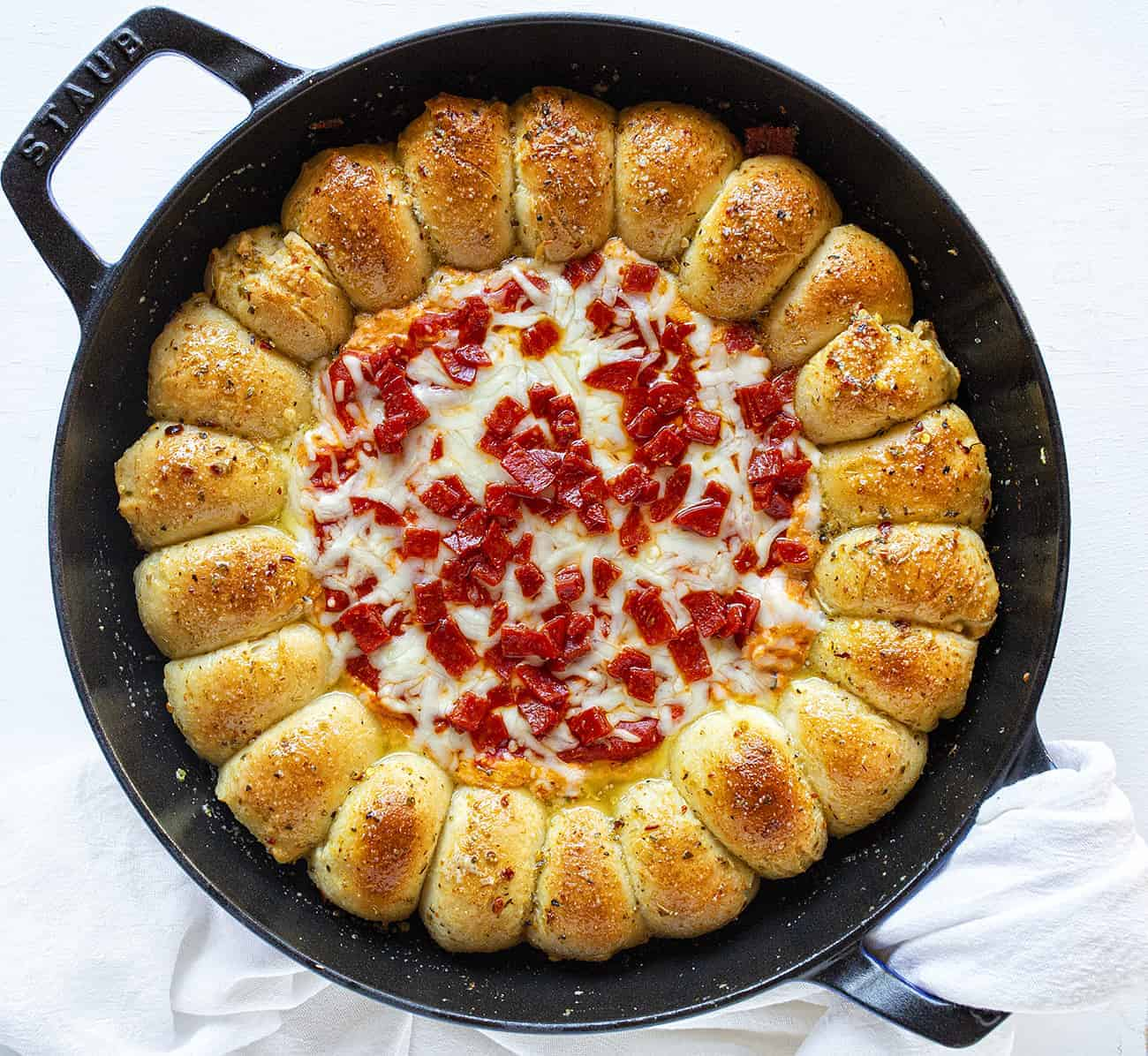 Skillet Pizza Dip Overhead View
