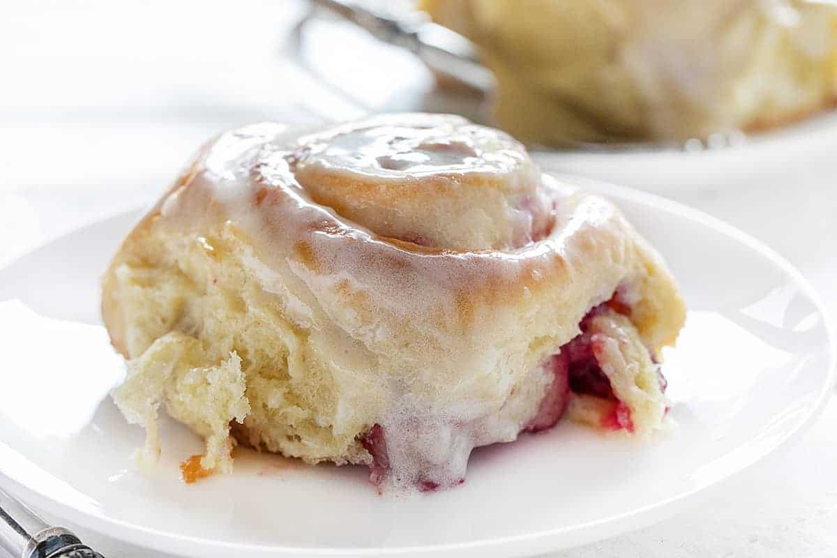 One Raspberry Cream Cheese Sweet Roll