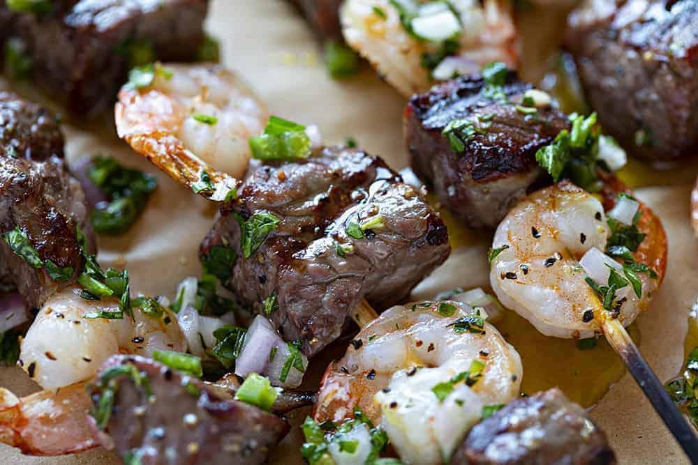 Tender Steak and Shrimp Kebabs