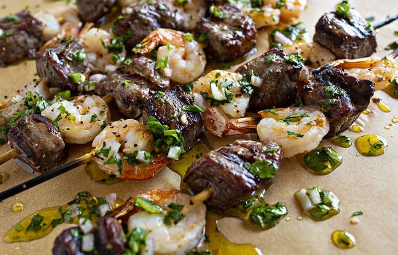 Surf and Turf Kebabs smothered in Chimichurri sauce