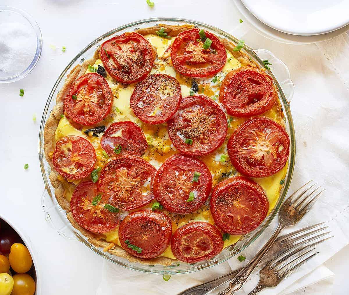 Overhead view of Tomato and Corn Pie