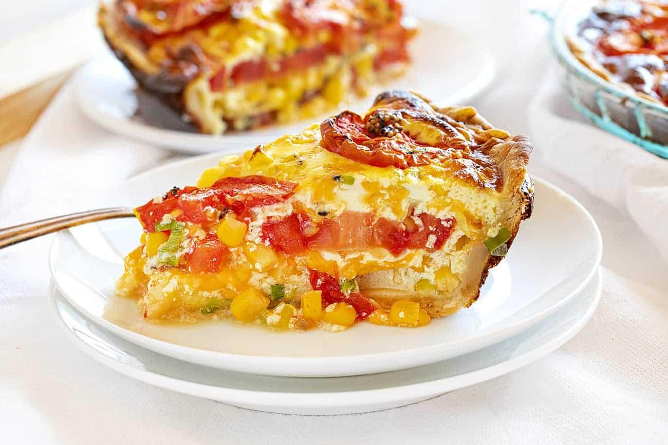 Slice of Tomato and Corn Pie