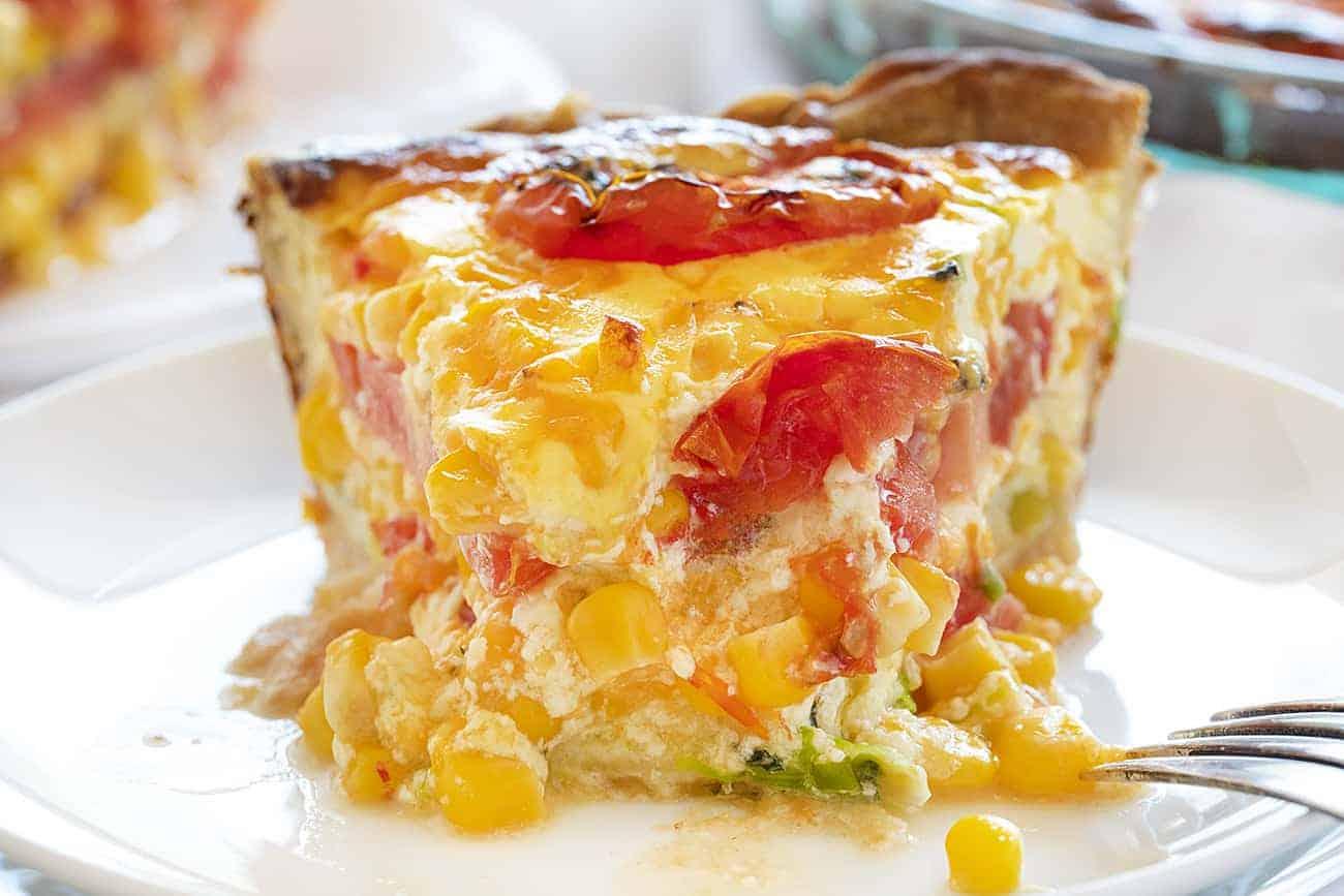 Piece of Tomato and Corn Pie