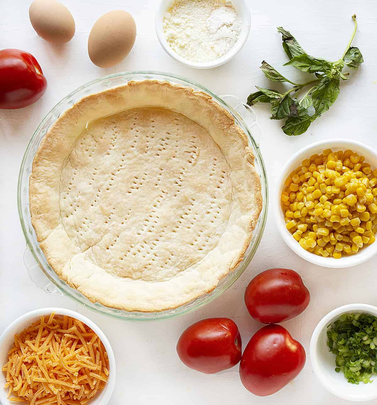 Ingredients for Tomato and Corn Pie