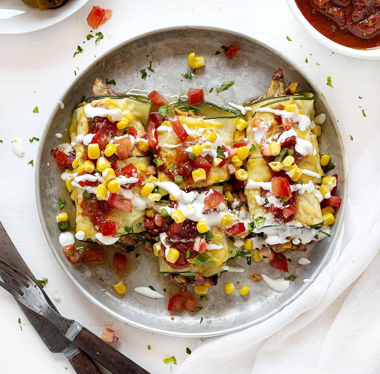 Plate of Southwest Zucchini Roll Ups