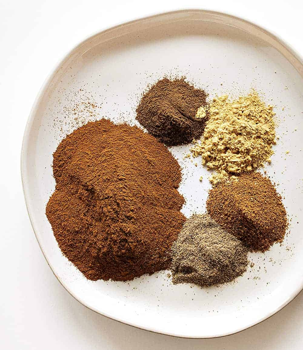 Ingredients for Homemade Apple Pie Spice on a Plate