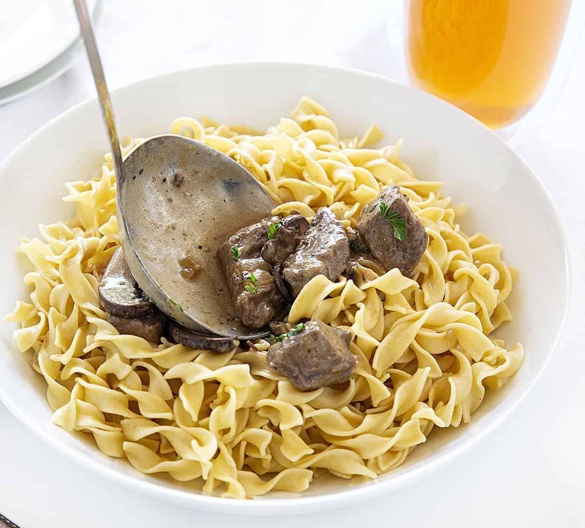 Spooning Beef Stroganoff Over Pasta