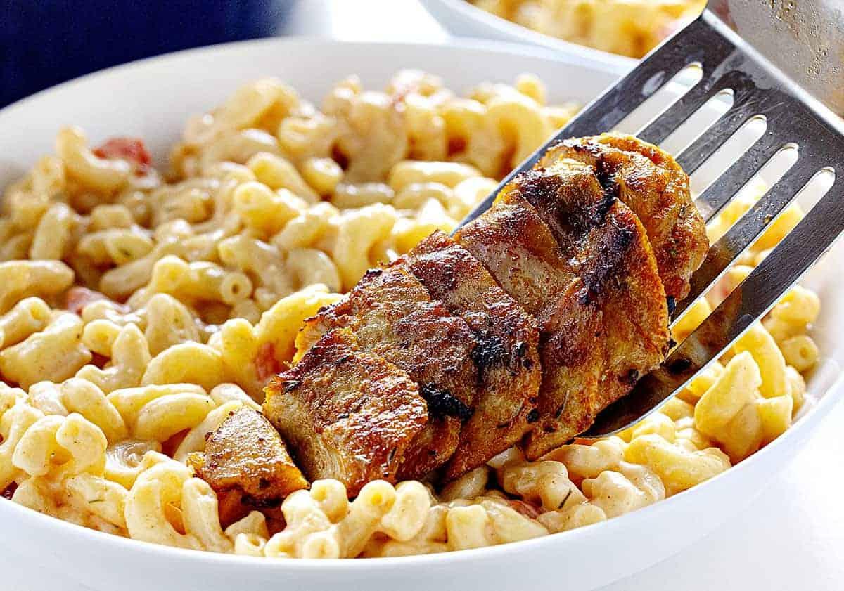 Adding Chicken to Cajun Chicken Macaroni and Cheese