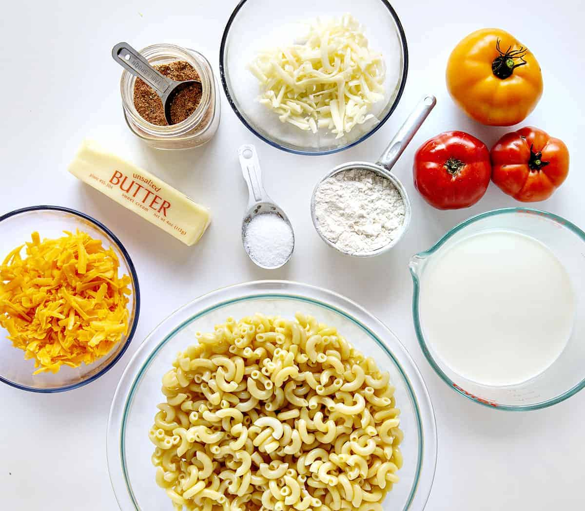Ingredients for Cajun Chicken Macaroni and Cheese