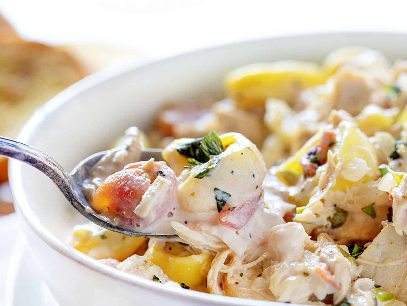 Spoonful of Creamy Chicken Tortellini Soup