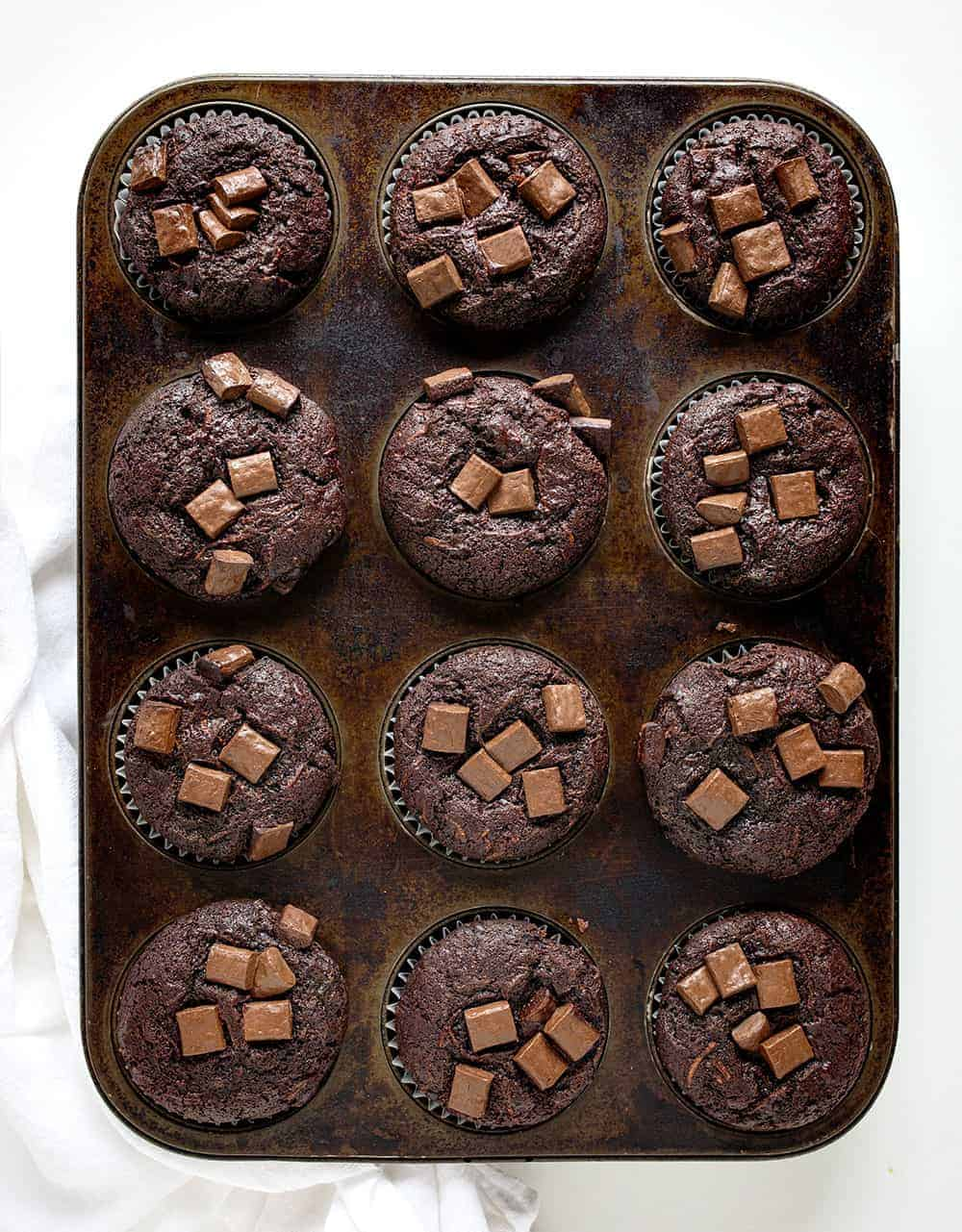 Overhead Pan of Baked Chocolate Zucchini Muffins