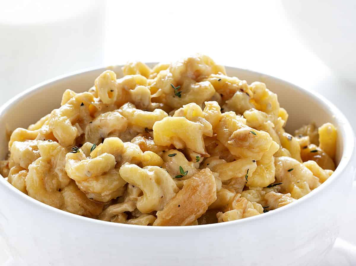 Bowl of French Onion Chicken Macaroni and Cheese