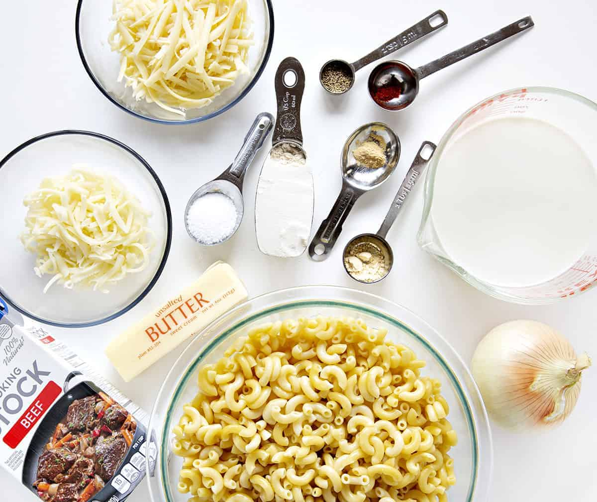 Ingredients for French Onion Chicken Macaroni and Cheese