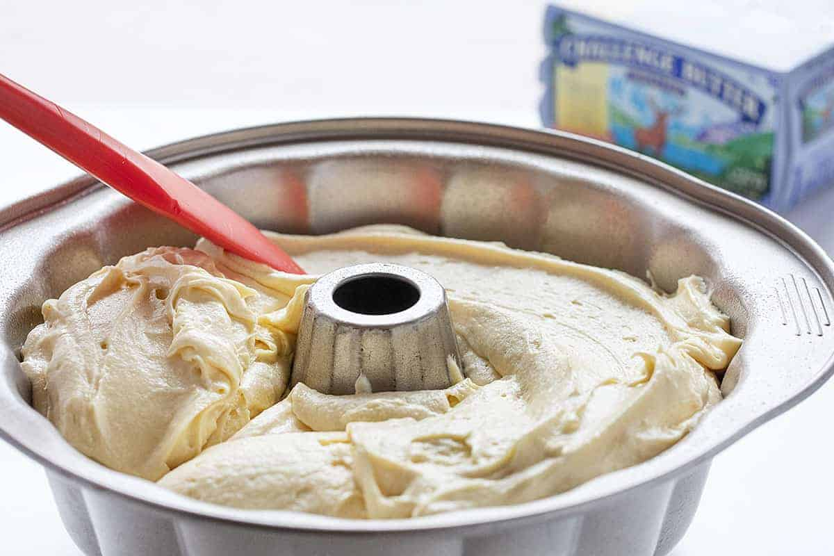 Batter in a Bundt Pan for Kentucky Butter Crunch Cake