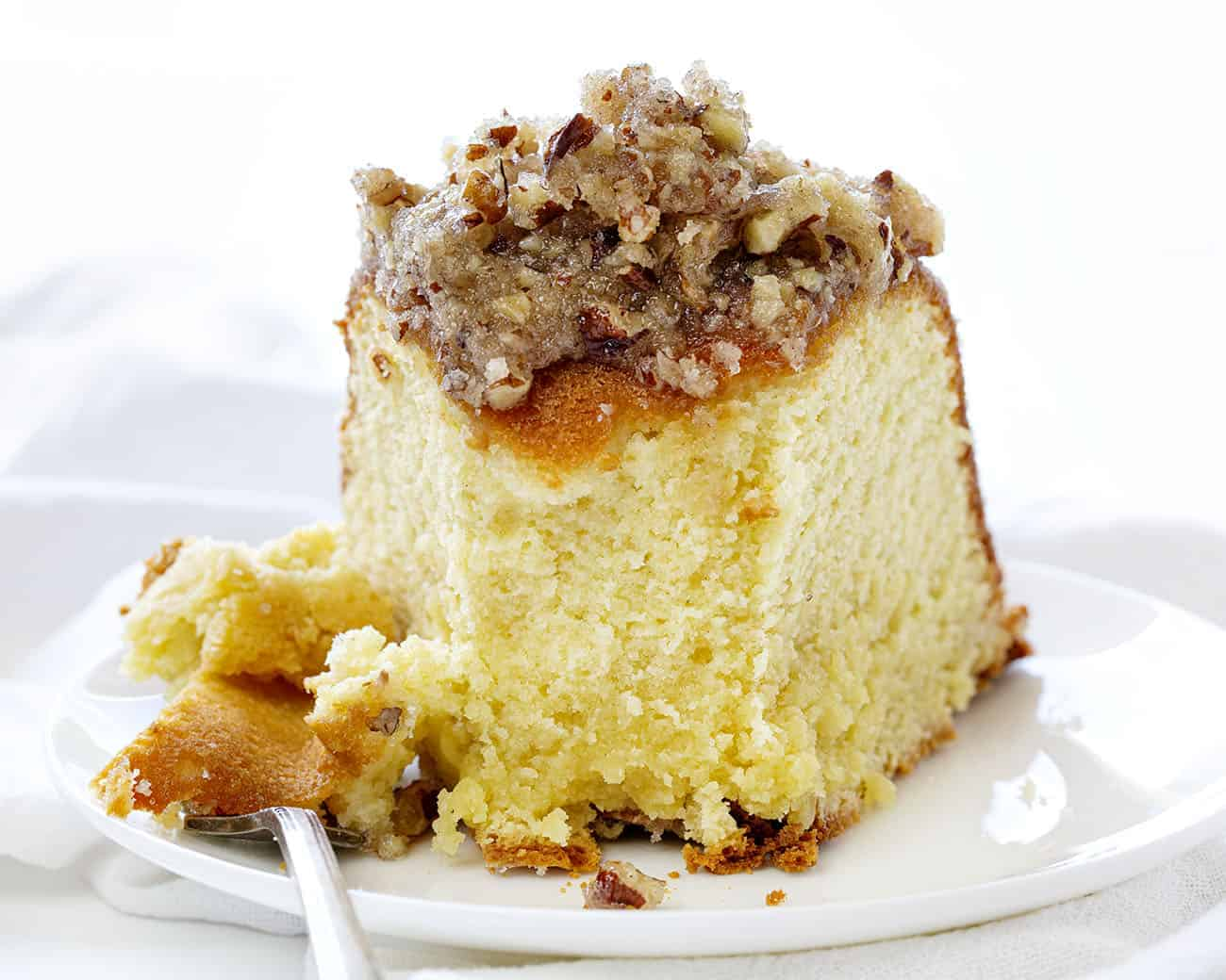Slice of Kentucky Butter Crunch Cake with a Bite Removed