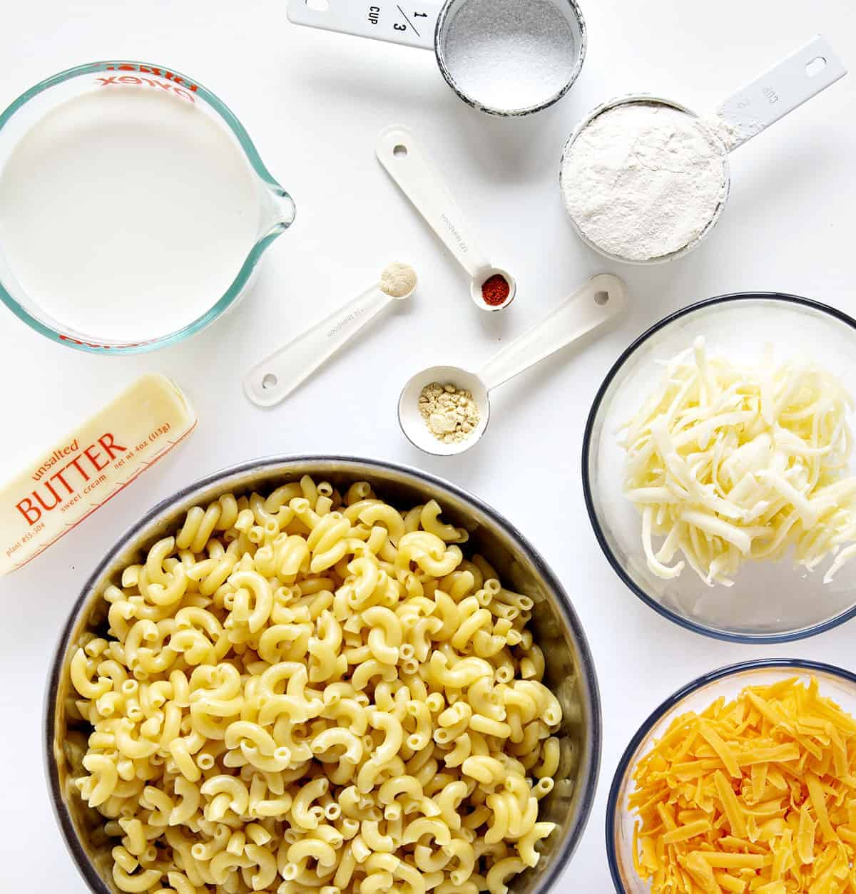Ingredients for Macaroni and Cheese