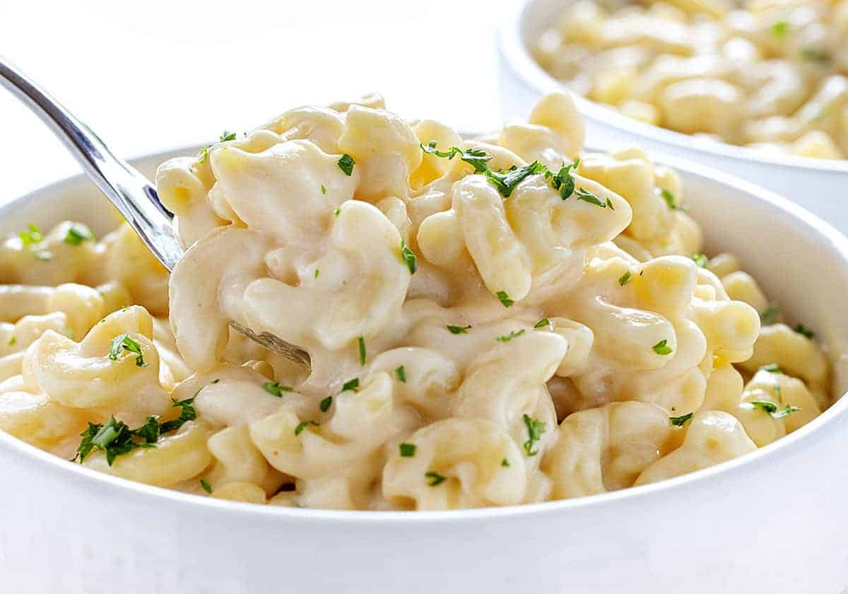 Big Spoonful of Macaroni and Cheese in a Bowl