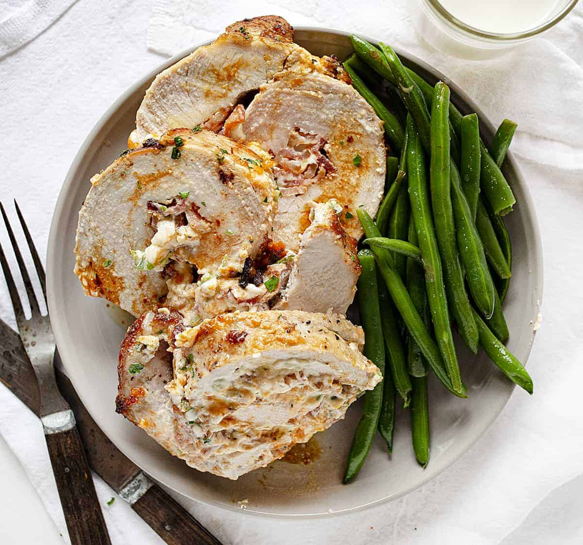 Plated Jalapeno Popper Pork Loin