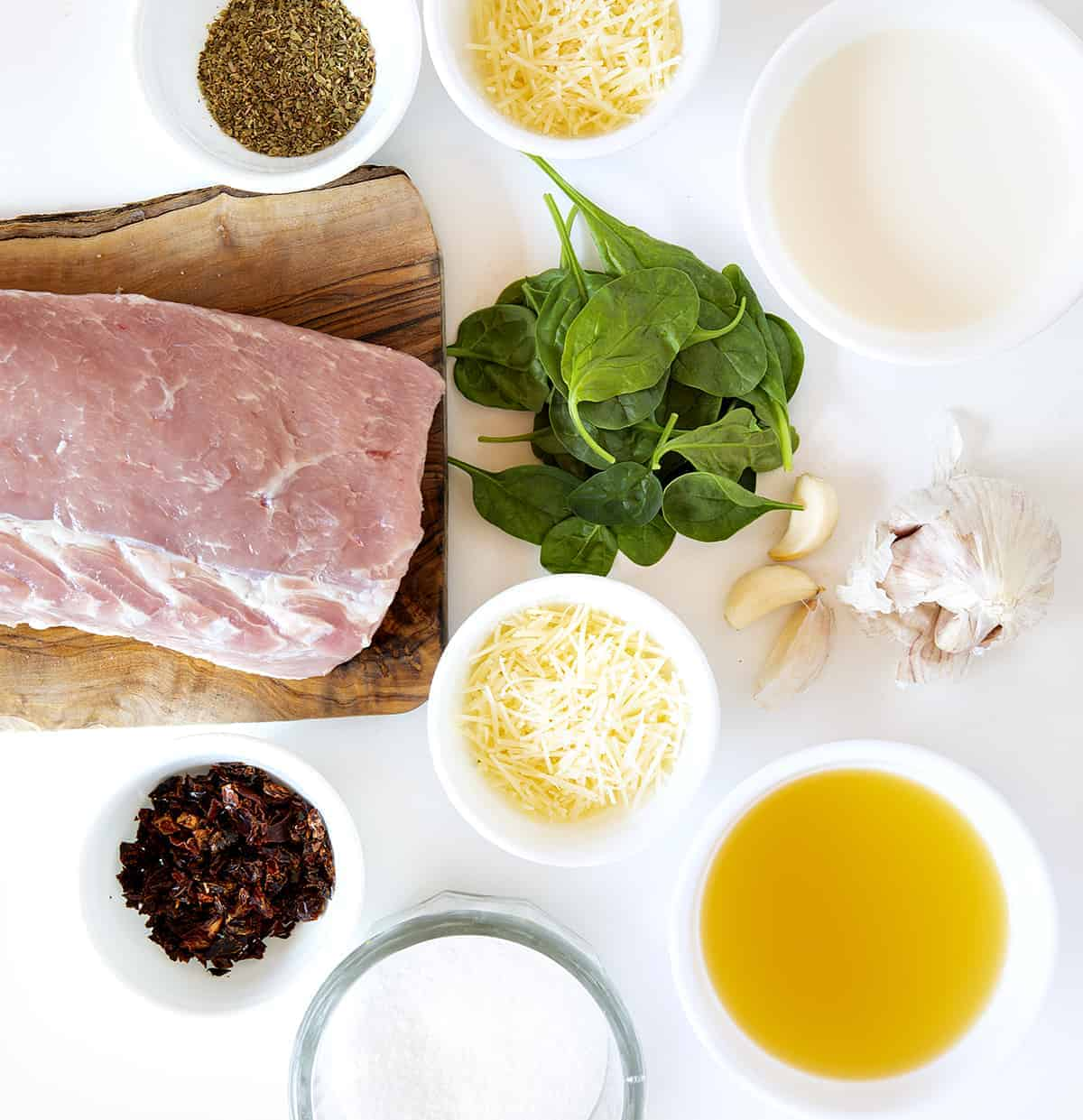 Ingredients for Pork Tenderloin with Parmesan and Roasted Garlic Cream Sauce