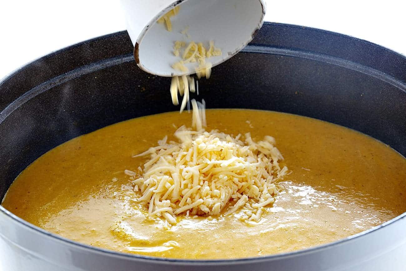 Adding Gouda to Pumpkin Soup