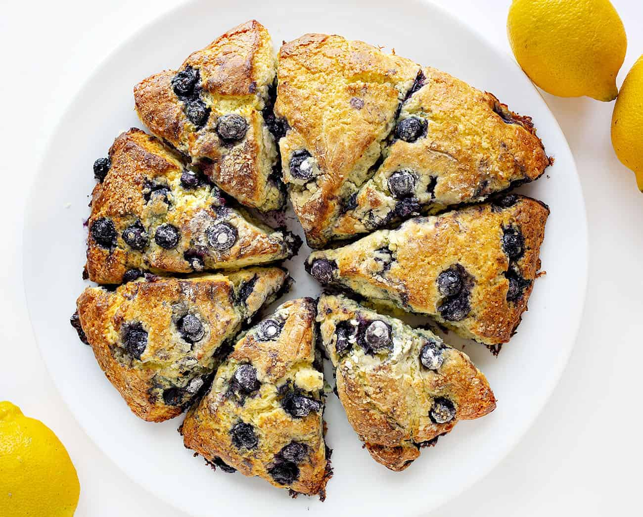 Overhead view of Plated Blueberry Scones